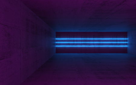 Abstract empty dark concrete interior with blue neon light lines, 3d render illustration