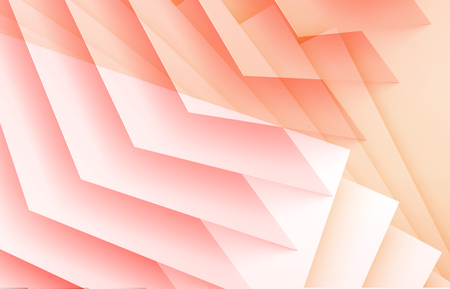 Parametric structure of orange red sheets. Abstract digital graphic background with double exposure effect. 3d render illustration