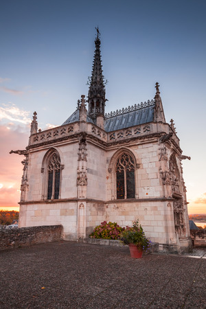 Exterior of the chapel of Saint-Hubert where Leonardo da Vinci is buried. Amboise town located in the Indre-et-Loire department of the Loire Valley in France