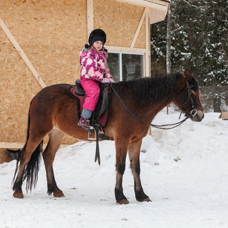 Beginner riding lessons, little girl with brown horse stand on snowy riding field Stock Photo