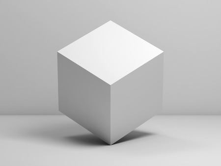 Abstract still life installation with white cube. 3d render illustration