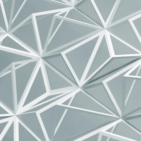 White digital polygonal mesh pattern over light blue backdrop. Abstract background texture, square 3d render illustration Imagens