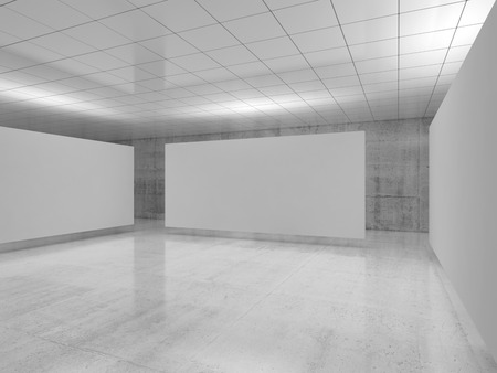 Abstract empty minimalist interior design, white banner stands levitating in exhibition gallery with walls made of polished concrete and shiny ceiling. Contemporary architecture. 3d illustration