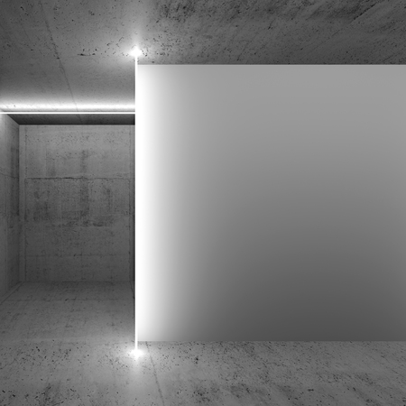 Abstract empty dark concrete interior with white wall fragment, square 3d render illustration