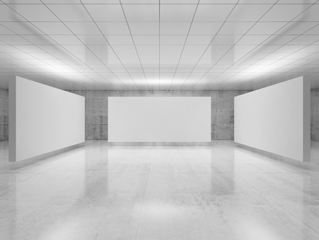 Abstrakte, leere, minimalistische Innenarchitektur, Installation von drei weißen Ständen, die in der Ausstellungsgalerie mit Wänden aus poliertem Beton schweben. Zeitgenössische Architektur. 3D-Darstellung
