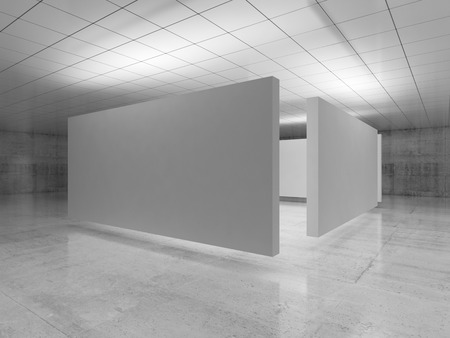 Abstract empty minimalist interior design, white stands installation levitating in exhibition gallery with walls made of polished concrete and shiny ceiling. Contemporary architecture. 3d illustration