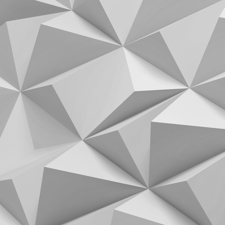 White digital polygonal pattern. Abstract low-poly cg background texture, square 3d render illustration