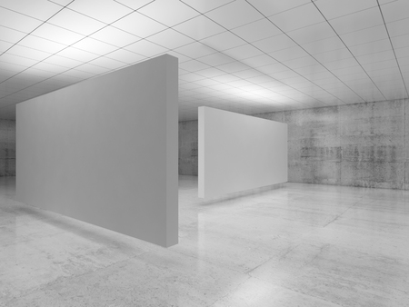 Abstract empty minimalist interior design, white stands installation levitating in exhibition gallery with walls made of polished concrete and shiny ceiling. 3d illustration Imagens