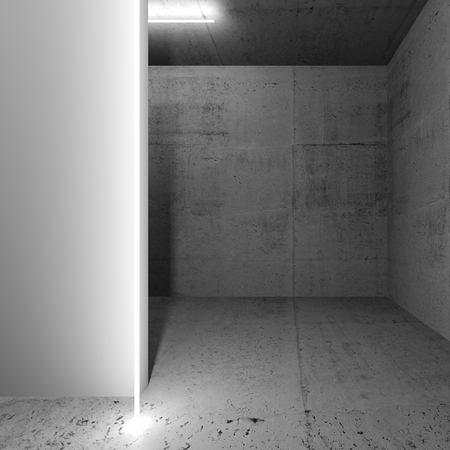 Abstract dark concrete interior with empty white wall fragment, square 3d render illustration
