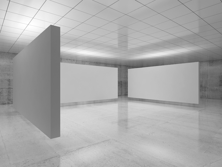Abstract empty minimalist interior, three white stands installation levitating in exhibition gallery with walls made of polished concrete and shiny ceiling. Contemporary architecture. 3d illustration Imagens