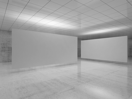 Abstract empty minimalist interior design, white stands installation levitating in exhibition gallery with walls made of polished concrete and shiny ceiling. 3d render Imagens