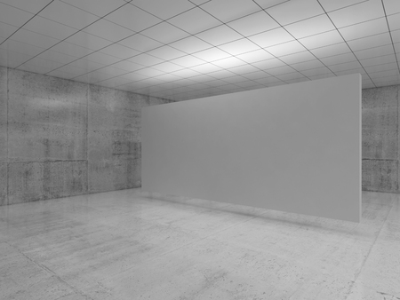 Abstract empty minimalist interior design, white stand installation levitating in exhibition gallery with walls made of polished concrete and shiny ceiling. Contemporary architecture. 3d illustration