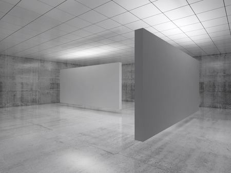 Abstract empty minimalist interior design, white stands installation levitating in exhibition gallery. Contemporary architecture. 3d illustration