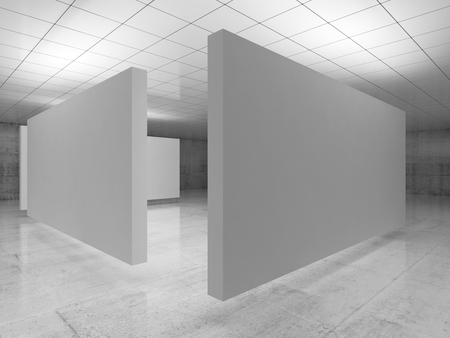 Abstract empty minimalist interior, white stands installation levitating in exhibition gallery with walls made of polished concrete and shiny ceiling. Contemporary architecture. 3d illustration