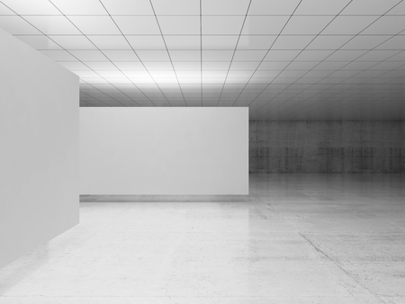 Abstract empty minimalist interior design, white stands levitating in exhibition gallery with walls made of polished concrete and shiny ceiling. Contemporary architecture. 3d illustration