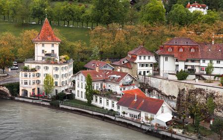 Old Swiss town on Aare river. Coastal landscape of Bern, Switzerland