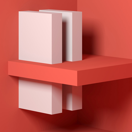 Abstract square digital background with red white minimal installation on the wall. 3d render illustration Reklamní fotografie
