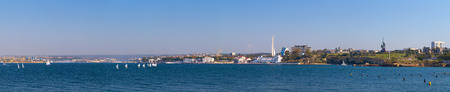 Sevastopol bay. Extra wide panoramic cityscape taken at summer sunny day Фото со стока