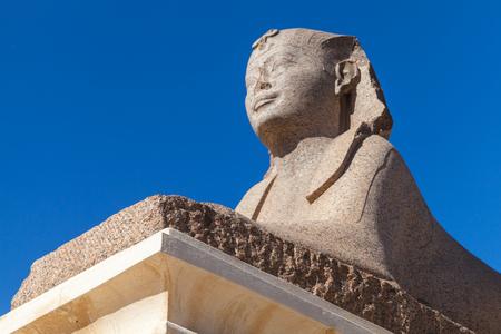 Ancient sphinx located near Pompeys Pillar in Alexandria, Egypt