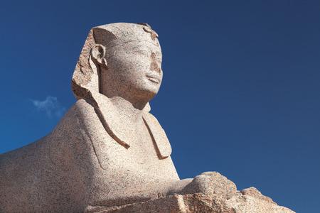 Sphinx statue located near Pompeys Pillar in Alexandria, Egypt Imagens