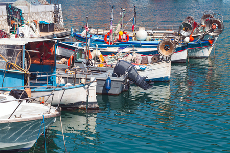 Fishing boats moored in old port of Nice. French Riviera, France Imagens