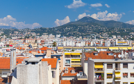 Cityscape with roofs of Nice city. French Riviera, France