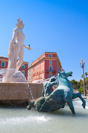 The Fountain of the Sun, Massena square, city of Nice, French Riviera, France 写真素材