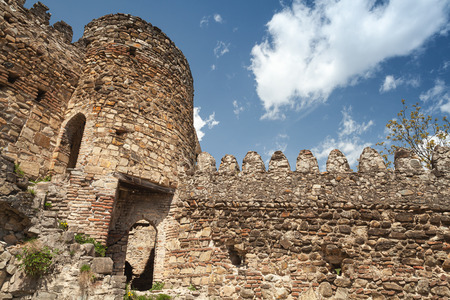 Ancient Ananuri fortress located on the Aragvi River in Georgia. It was a castle of the Dukes of Aragvi, a feudal dynasty which ruled the area from the 13th century 免版税图像