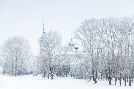 Winter landscape with Church of the Feast of the Presentation of Our Lord Jesus. Orthodox church in Vologda, Russia. It was built in 1731-1735