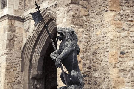 Lion statue of the Bargate. It is a medieval gatehouse in the city of Southampton, England. Constructed in Norman times as part of the Southampton town walls, it was the main gateway to the city