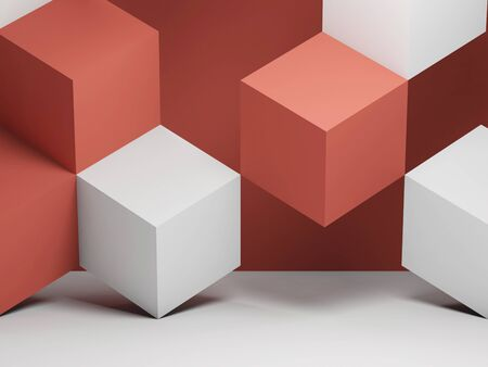Abstract graphical background with white and red cubes installation. 3d rendering illustration