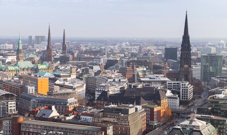 Hamburg cityscape, Germany. Aerial view with modern and old buildings at daytime