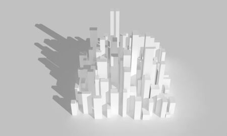 Abstract white city block. Digital model with geometric primitive skyscrapers, 3d rendering illustration Stock fotó