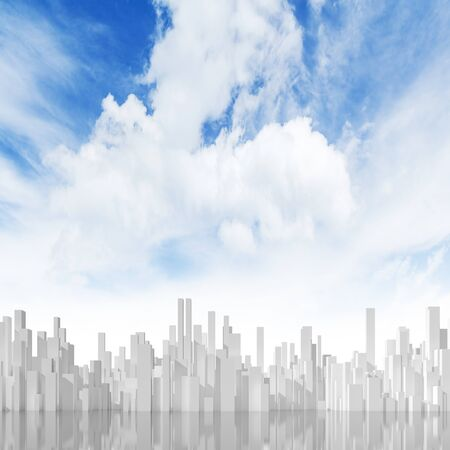 Abstract cityscape under cloudy sky. Digital model with geometric tall white skyscrapers block, square 3d rendering illustration