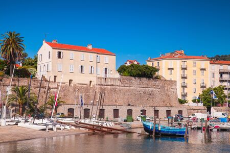 Ajaccio, France - June 30, 2015: Morning view of the old port of Ajaccio city, the capital of Corsica, a French island in the Mediterranean Sea Publikacyjne