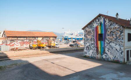 Ajaccio, France - June 29, 2015: Ajaccio railway station view. Corsica island Editöryel