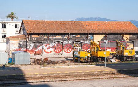 Ajaccio, France - June 29, 2015: Painted facade of Ajaccio railway station service building. Corsica island