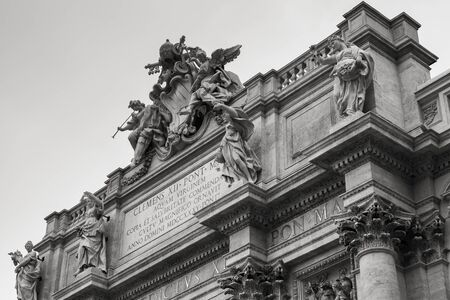 Rome, Italy - August 7, 2015: Roman architecture. Portico of the Trevi Fountain. It is one of the most popular tourist attractions in Rome Editorial
