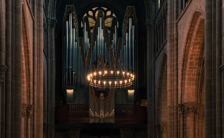Geneva, Switzerland - November 26, 2016: Organ of St. Pierre Cathedral. It was built as a Roman Catholic cathedral between years 1160-1252, but became a Reformed Protestant Church Sajtókép