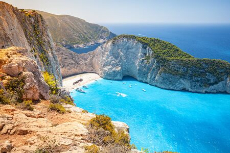 Ship Wreck beach. Navagio bay. Greece. The most popular natural landmark of Zakynthos, Greek island in the Ionian Sea
