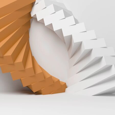 Abstract geometric installation over white wall background, 3d rendering illustration Stock fotó
