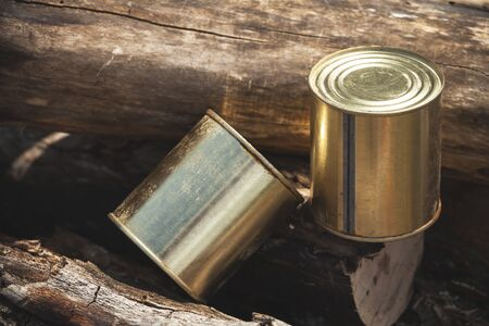 Canned beef lay on cut logs, basic hike food