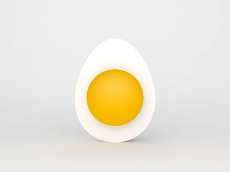 Half of a white chicken egg with whole yolk standing over white background, 3d rendering illustration Фото со стока - 128592613