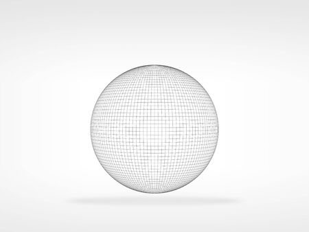 Wire frame spherical object with soft shadow over white background, 3d rendering illustration 스톡 콘텐츠
