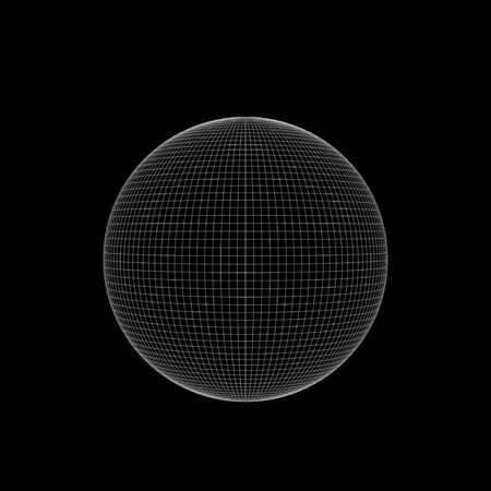 White wire frame sphere isolated on black background, square digital illustration, 3d rendering 스톡 콘텐츠