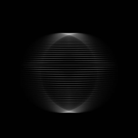 Abstract round blurred object isolated on black background, square digital illustration, 3d rendering