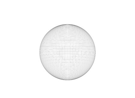 Wire frame sphere isolated on white background, 3d rendering illustration