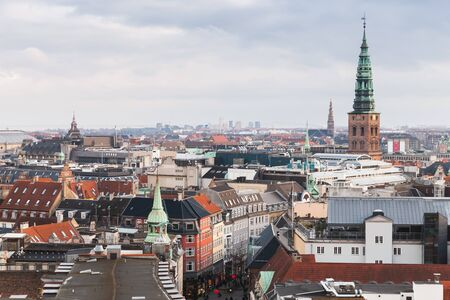 Copenhagen cityscape with spire of ol City Hall at winter day. Photo taken from The Round Tower, popular old city landmark and viewpoint. Denmark Stock fotó