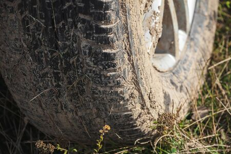Muddy car wheel is on the grass, close up photo, off-road racing theme
