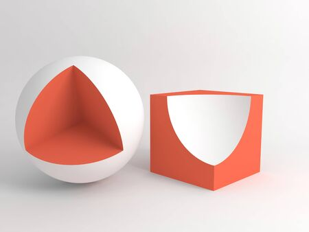 Abstract digital still life installation with sliced red white cube and sphere. Subtract Boolean operation illustration. 3d rendering illustration